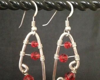 Silver wrap crystal earrings