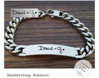 Personalized Actual Handwriting Men's Bracelet - Personalized Signature Bracelet - Personalized Men Bracelet,Handwriting Bracelet