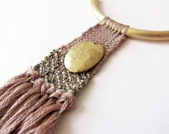 Boho Hammered Brass Woven Fiber Necklace, color block necklace, tassel necklace, textile jewelry