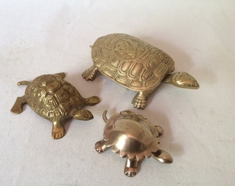 Vintage Mid Century Hollywood Regency Brass Turtle Container Collection