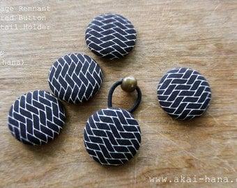 Upcycled Vintage Covered Button Ponytail Holder, Black Geometric