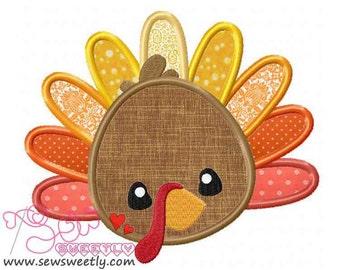 Cute Turkey Applique Design.