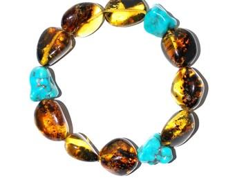 Amber Bracelet Turqoise Bracelet Massive Flexible Size Bracelet From Genuine Baltic Amber And Turquoise Beads