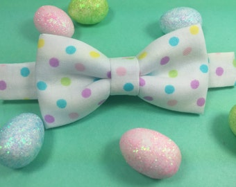 Easter bow tie. Pastel colors bow tie. Polka dots bow tie. Pastel colors polka dots bow tie. Multicolor dots on white bow tie.