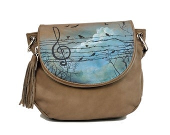 Hand Painted Fine Grain Leather Purse - Fayette Trill In The Blue Sky Beige Messenger Bag by Lyria.ro