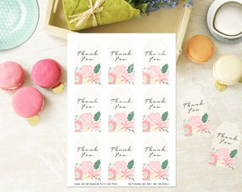 "2""x3.5"" Floral Printable Thank You Tags - Printable Favor Tags - Baby Shower - Birthday - Engagement - Digital File - Instant Download"