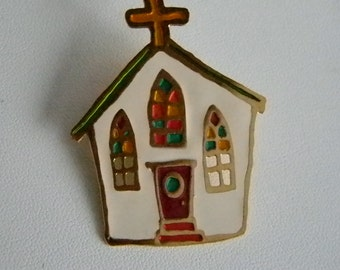 Colorful Enamel Church and Steeple Pin Brooch