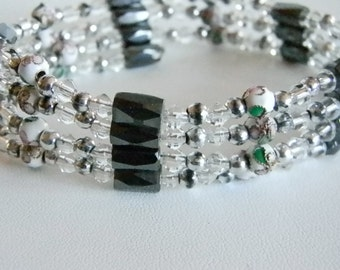 Magnetic Clear Crystal Colored Silver Tone Accents and Bauble Bracelet
