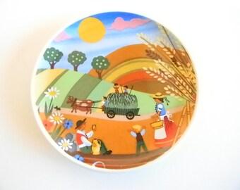 Miniature  Plate Wheat Field Farm Family Schlogl Vienna Souvenir Austria