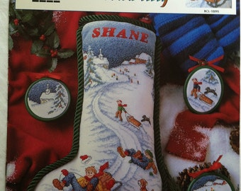 Sledding Old Town Hill True Colors Cross Stitch Leaflet BCL-10095 by True Colors