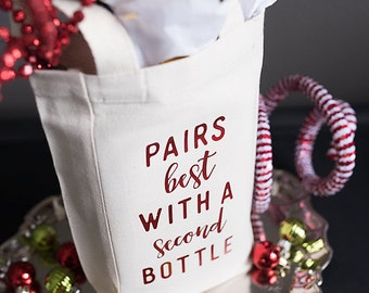 Gift for Wine Lover, Wine Bag, Alcohol Gift, Winery Gift, Canvas Bag, Wine Humor, Double Wine Bag, Gift for BFF, Gift under 15, Booze Bag