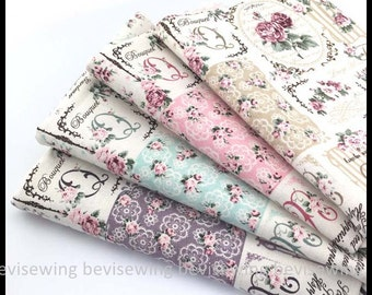 Handmade Supply/Curlicue Letters and Vintage Rose Cotton and Linen Fabric/ Width:145cm