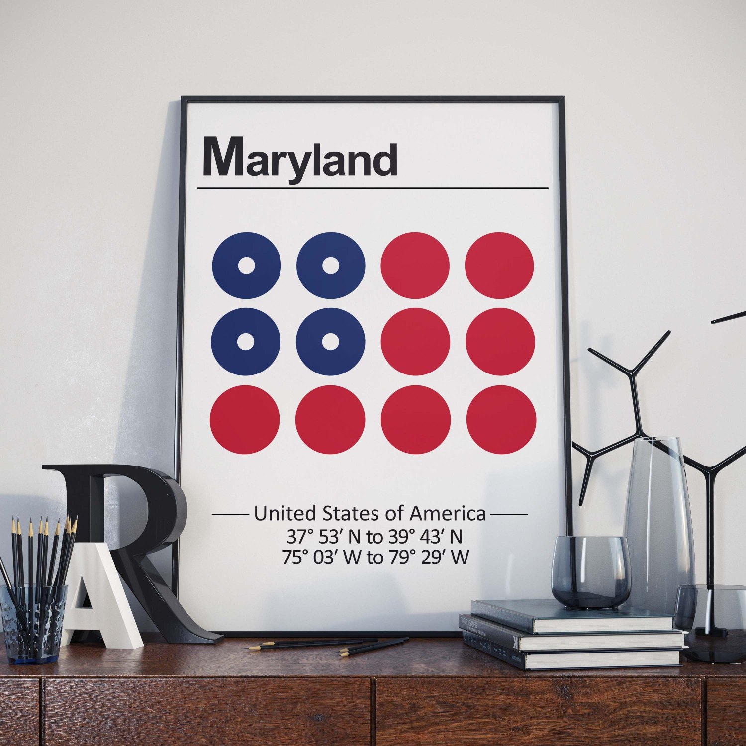 Maryland Poster US State Prints Wall Art Prints Map