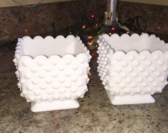 Pair of milkglass hobnail pedestal planters