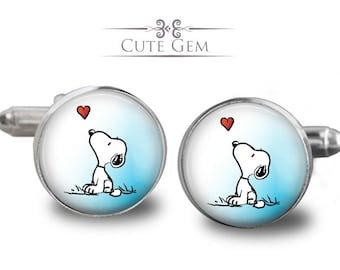 SUPER SALE - Snoopy - Silver Glass Cufflinks