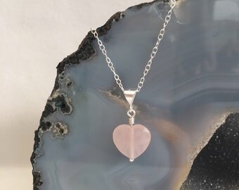 Rose Quartz heart pendant with Sterling silver, wedding jewellery, flower girl, bridesmaid gift, girlfriend gift, pink heart necklace, kids
