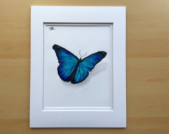 Butterfly drawing, original pencil drawing, colored pencil drawing, 11x14
