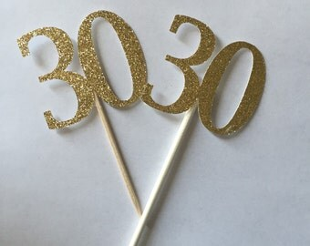 Gold Glitter 30th Birthday Cupcake Toppers // Gold Glitter Cupcake Toppers // 30th Birthday Cupcake Toppers