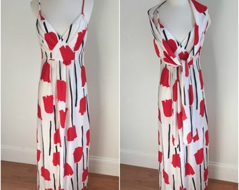 Vintage 1970s SMITH AND JONES Maxi Dress Red Tulips Black + White Scarf M L