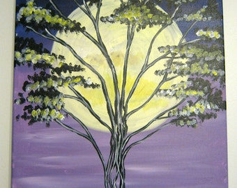 Tree Painting, Moonlight Painting, Moon and Tree Art, Abstract Art, Nature painting, Wall art, Gift for her, gift for him, home decor