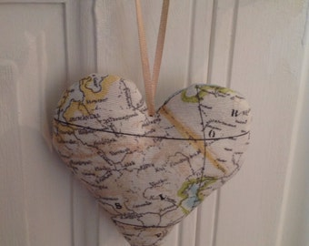 Vintage Map Fabric Hearts