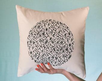 Rune and White Denim Throw Pillow