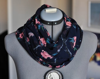 Black chiffon scarf with flowers