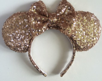 Rose gold sequins ears