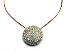 SWAROVSKI necklace . Gold tone crystal jewelry . Rhinestone pendant . Vintage 1990s