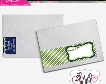 EDITABLE INSTANT DOWNLOAD: Wrap-Around Address Labels, Navy Blue and Lime Green