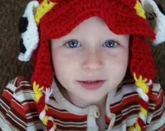 Crocheted paw patrol inspired firemans hat for child
