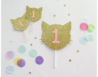 Kitty Cat Cupcake Topper, Birthday Cupcake Topper, wedding cupcake topper,