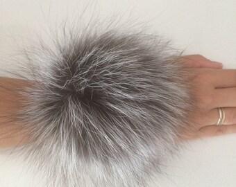 Silver Fox scrunchie, ponytail holder, furry ball, Elastic fur bracelet.