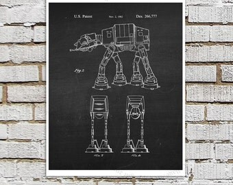 Star Wars print #10 AT-AT Imperial Walker Patent Poster, Star Wars Decor, Star Wars Boys Room Decor,  Star Wars Gift for Kids, Sci-Fi decor