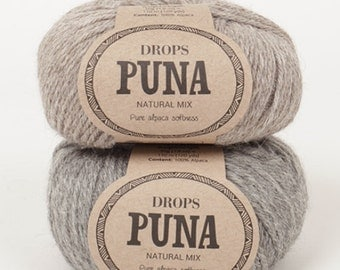 NEW!! Garnstudio Drops Design PUNA 100% Super Fine Alpaca yarn DK / 8ply Luxury knitting wool 50g - natural colour - double knitting