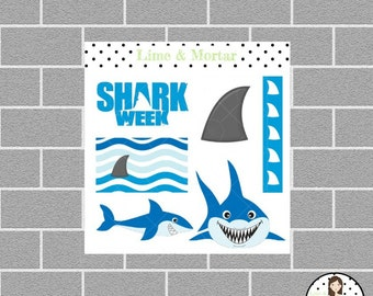 Shark Week Mini Planner Stickers