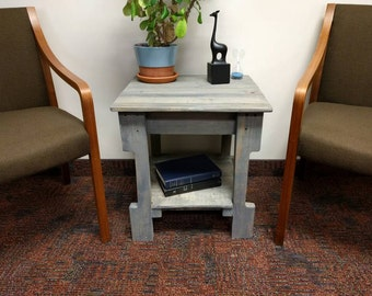 Grey Pallet End Table Nightstand - reclaimed wood