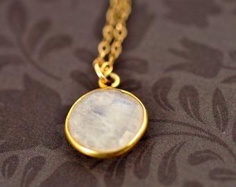 Sale! Sterling Silver Moonstone Gemstone Necklace-Gold Filled Necklace-Gemstone Necklace-Gold Filled Gemstone Pendant-Dainty Necklace