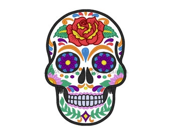 """Sugar skull applique 2 with fill stitch details machine embroidery design- 3 sizes 3 sizes 4 x 4"""", 5 x 7"""" and 6 x 10"""""""