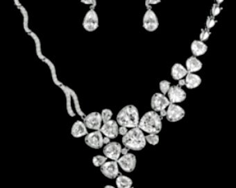 New Bridal CZ Cluster Crystal & Rhinestone Necklace With Matching Pierced Earring Set