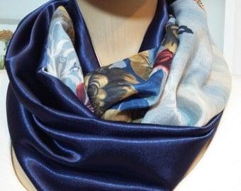 Royal blue scarf, Navy blue infinity scarves, Satin Scarves, infinity scarf, blue infinity scarves, navy blue loop scarf, spring scarves