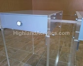 Acrylic Lucite Nightstand Table Furniture with grey top and clear legs