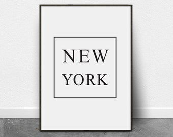 New York Poster, Printable Art, Black and White Poster, Typography Print, New York Print, New York City, Digital Download, Large Wall Art