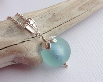 Scottish Sea Glass Marble Sterling Silver Necklace