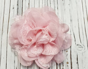 Pink Flower Hair Clip, Alligator Clip, Lace Flower Hair Clip,  Child, Teen, Adult, Add A Flower to a Headband