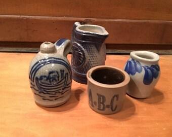 4 Miniature Crocks/Pitcher (2 are Eldreth Pottery )