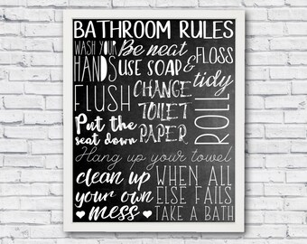 Bathroom rules, bathroom wall art, bathroom poster, bathroom wall decor, bathroom print, printable art, printable wall art, chalkboard art