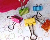 Binder clips - cute stationery - mini foldback clips - back to school - multi coloured - teacher gift - planner supplies - spotty - bulldog