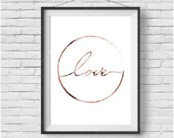 Minimalist Love Print Love Printable Art Copper Print Rose Gold Wall Decor Typography Print Minimalist Print Rose Gold Home Decor Gift Idea