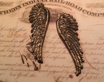 Antique brass angel wings 1 pair
